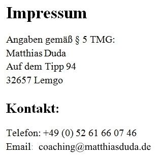 Impressum More than Coaching mit coachingATmatthiasduda.de